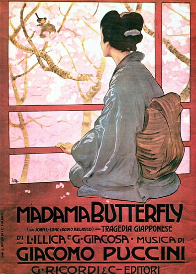 XJL208559 Frontispiece of the score sheet for 'Madame Butterfly' by Giacomo Puccini (1858-1924) (colour litho) (see also 56537) by Italian School, (20th century); colour lithograph; Private Collection; Italian, out of copyright